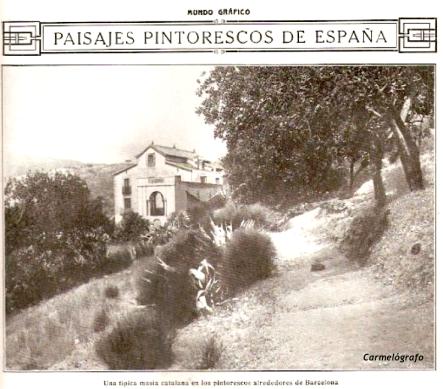 """Revista Mundo Gráfico,principios de siglo XX. Aparece Can Mora sin identificar. Pie de foto:""""Una típica masía catalana en los pintorescos alrededores de Barcelona""""."""