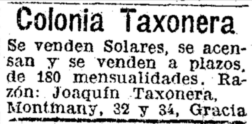 Anuncio con el nombre de Joaquim Taxonera y la dirección de su domicilio / fábrica en el carrer Montmany.